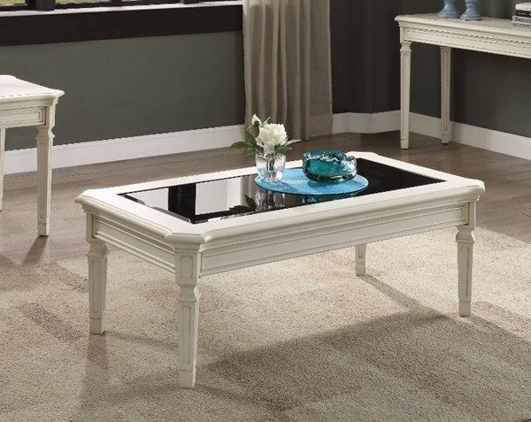 Homeroots Antique White Wood Mirror Coffee Table OCN-307947