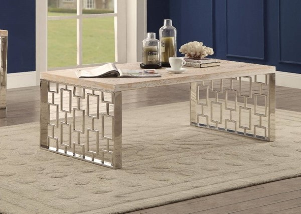 Homeroots Brown White MDF Stainless Steel Coffee Table OCN-307952