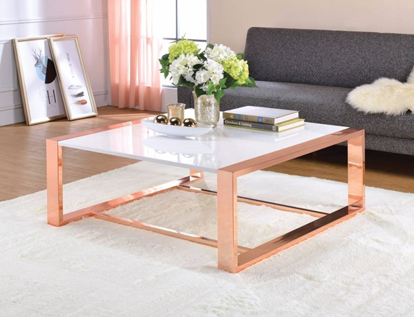 Homeroots White High Gloss Copper Metal Coffee Table OCN-307953
