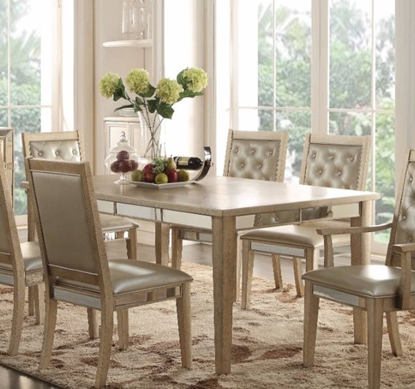 Homeroots Antique Gold Rubberwood Mirror Dining Table OCN-307962