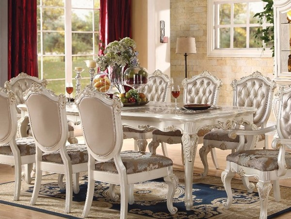 Homeroots Pearl White Wood Marble Top Dining Table OCN-307967