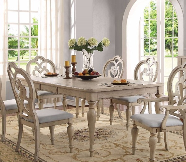 Homeroots Antique White Rubberwood Dining Table OCN-307970
