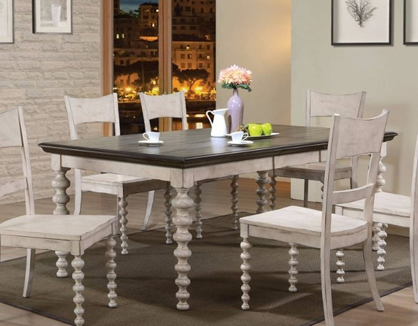 Homeroots Antique White Gray Rubberwood Dining Table OCN-307971