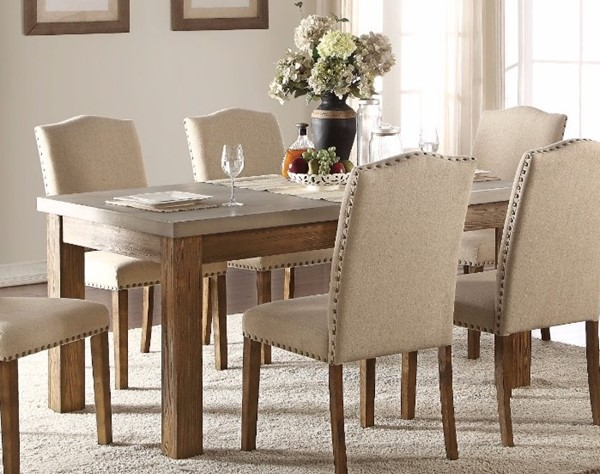 Homeroots Salvage Oak Brown Concrete Top Dining Table OCN-307989