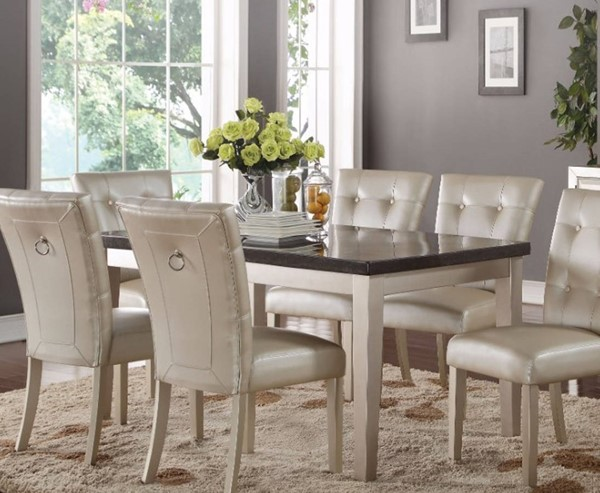 Homeroots White Rubberwood Black Marble Top Dining Table OCN-307994