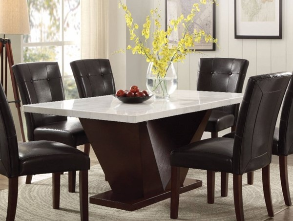 Homeroots Walnut Brown MDF White Marble Top Dining Table OCN-307997