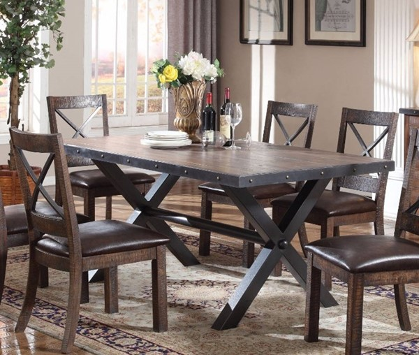 Homeroots Weathered Cherry MDF Black Metal Dining Table OCN-307998