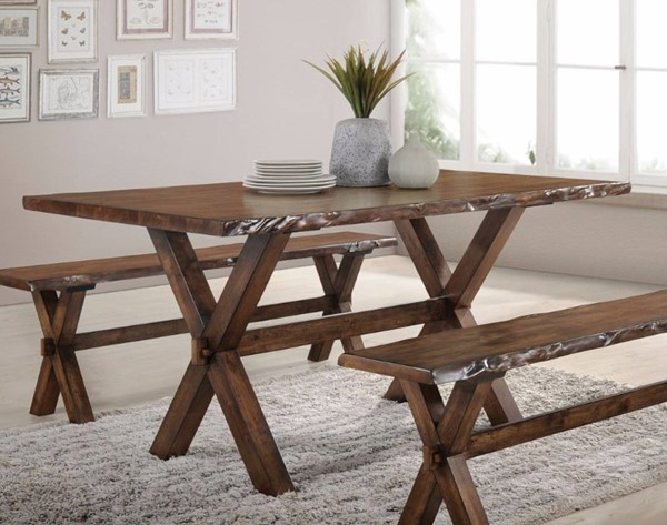 Homeroots Antique Oak Solid Rubberwood Dining Table OCN-308009