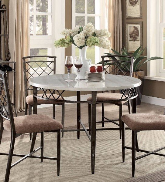 Homeroots Antique Brown Metal Faux Marble Top Dining Table OCN-308010