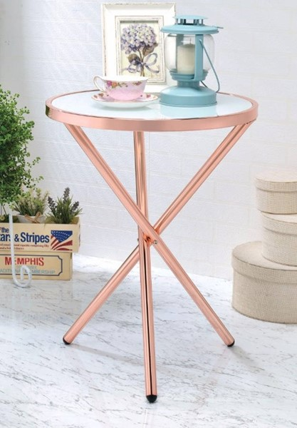 Homeroots Frosted Glass Copper Metal Side Table OCN-308027