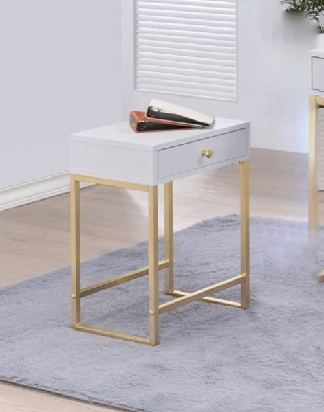 Homeroots White PVC Gold Metal Side Table OCN-308038