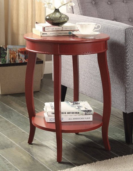 Homeroots Red Solid Wood Self Storage Side Table OCN-308041