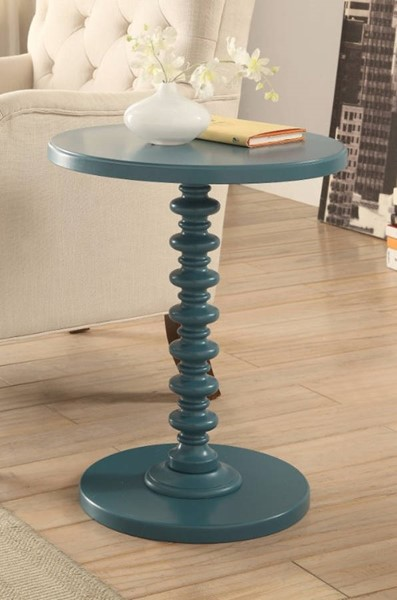 Homeroots Teal Blue Solid Wood Round Top Side Table OCN-308047