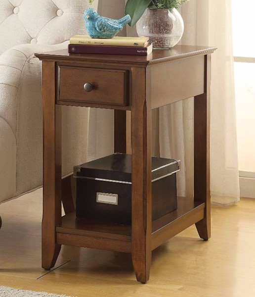 Homeroots Walnut Brown Solid Wood Side Table OCN-308053