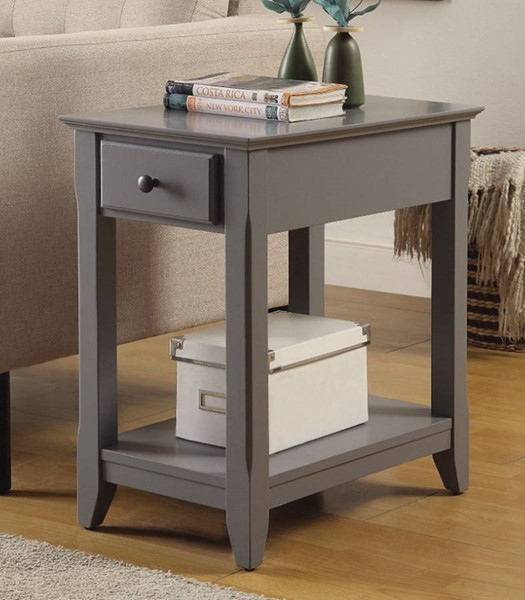 Homeroots Gray Solid Wood Side Table OCN-308054
