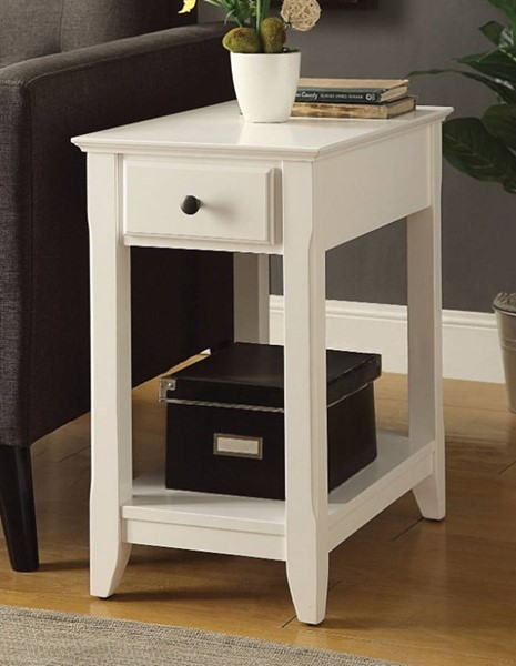 Homeroots White Solid Wood Side Table OCN-308056
