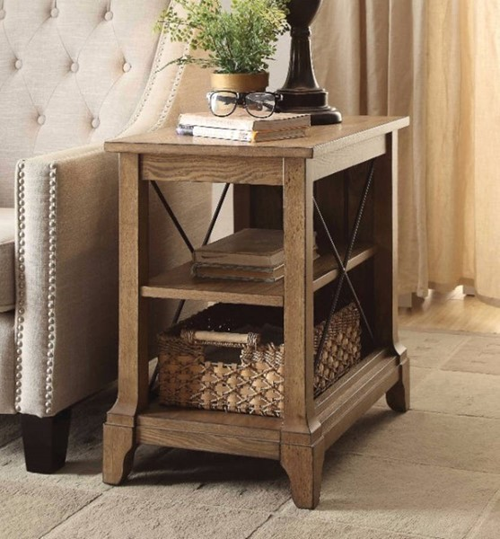 Homeroots Oak Brown Solid Wood 2 Compartments Side Table OCN-308062