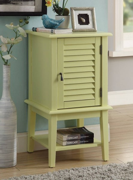 Homeroots Light Yellow Solid Wood Side Table with 1 Drawer and Door OCN-308084