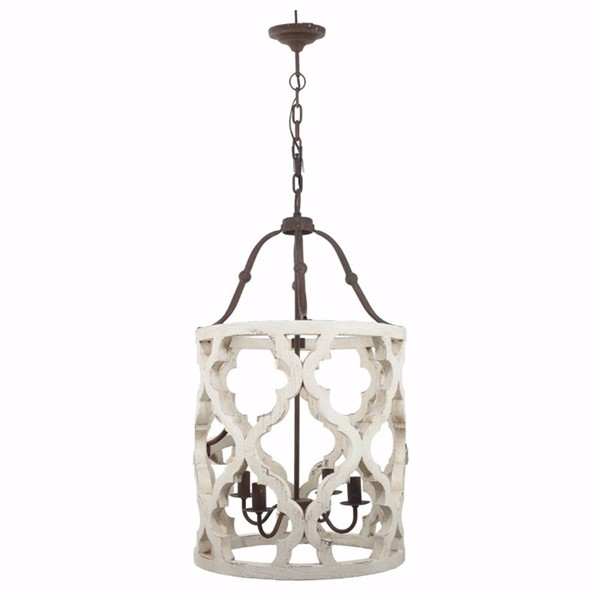 HomeRoots White Wood Metal 4 Light Chandelier OCN-308257
