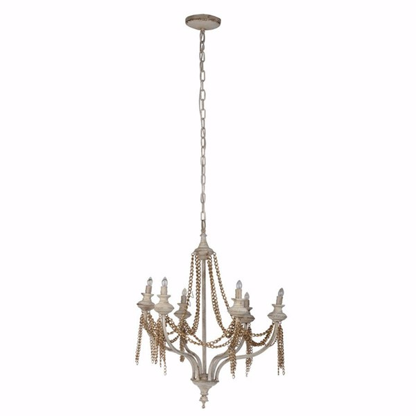 HomeRoots White Iron Traditional Chained 6 Light Chandelier OCN-308258