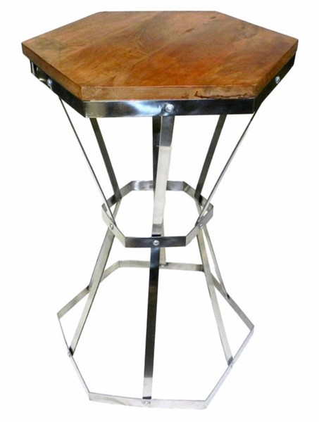 Homeroots Brown Wood Steel Octagonal Table OCN-308794