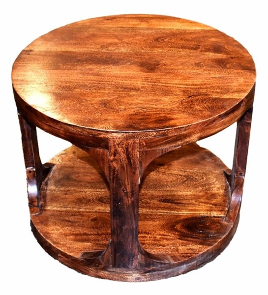 Homeroots Brown Wood Round Side Table OCN-308806