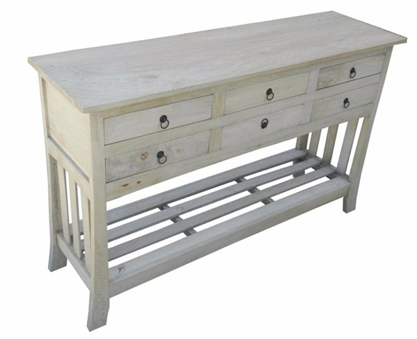 Homeroots White Wood 6 Drawers Console Tables OCN-308838-ST-VAR