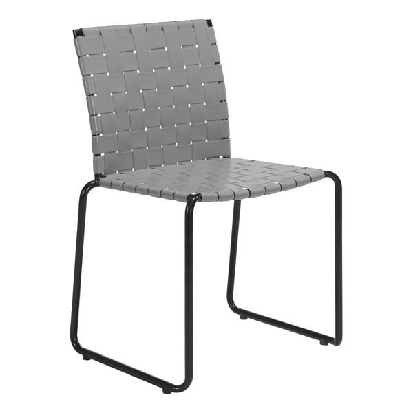 4 Homeroots Light Gray Faux Leather Steel Dining Chairs OCN-309004