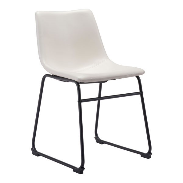 Homeroots Distressed White Leatherette Dining Chair OCN-309022