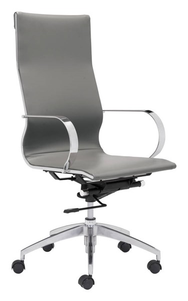 Homeroots Gray Leatherette High Back Office Chair OCN-309028
