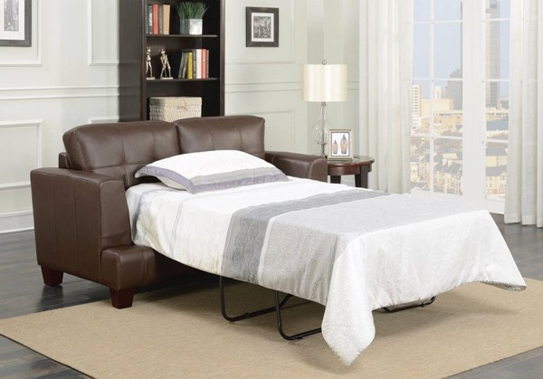 HomeRoots Dark Brown Leatherette Loveseat Sleeper OCN-309034