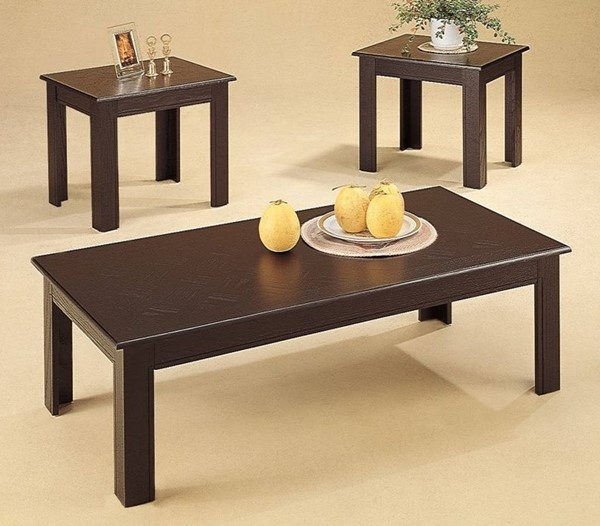 Homeroots Dark Brown Wood Rectangle 3pc Occasional Table Set OCN-309039