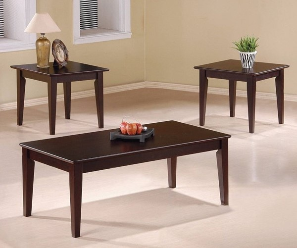 Homeroots Brown Wood 3pc Occasional Table Set with Tapered Legs OCN-309052