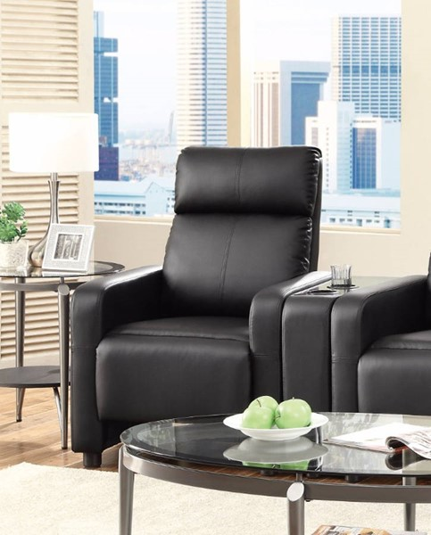 HomeRoots Modern Black Leather Theater Seating Push Back Recliner OCN-309055
