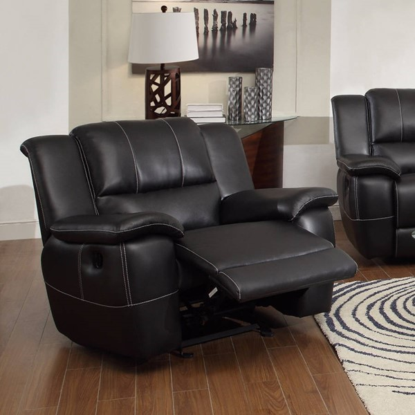 HomeRoots Black Leather Phenomenal Glider Recliner with Pillow Arms OCN-309071