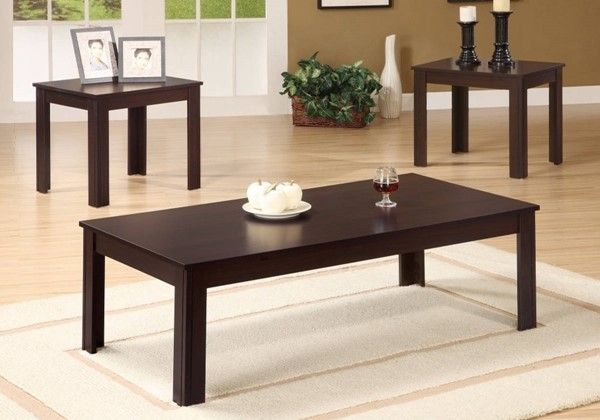 Homeroots Brown Wood 3pc Occasional Table Set OCN-309083
