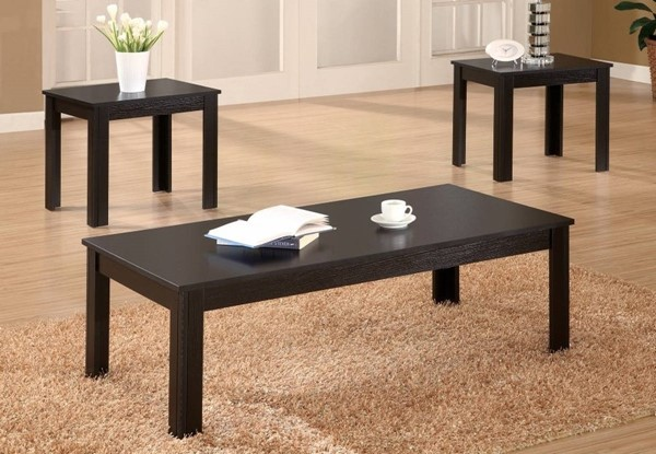 Homeroots Black Wood 3pc Occasional Table Set OCN-309084