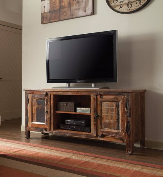 Homeroots Brown Reclaimed Wood Accent Cabinets TV Stand OCN-309085
