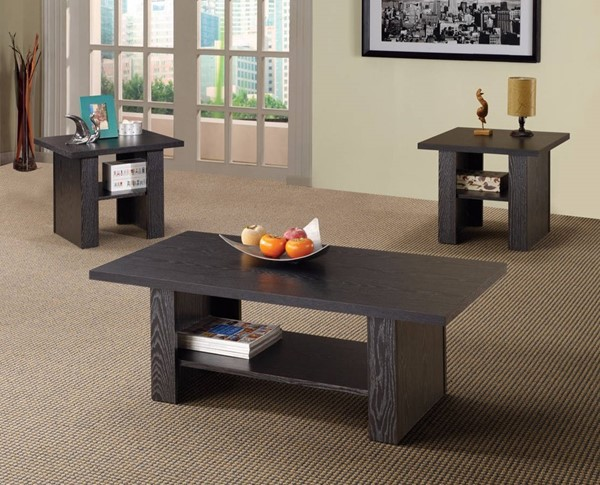 Homeroots Rich Black Wood 3pc Occasional Table Set OCN-309087
