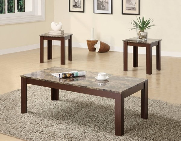 Homeroots Modern Brown Wood Marble Top 3pc Occasional Table Set OCN-309089