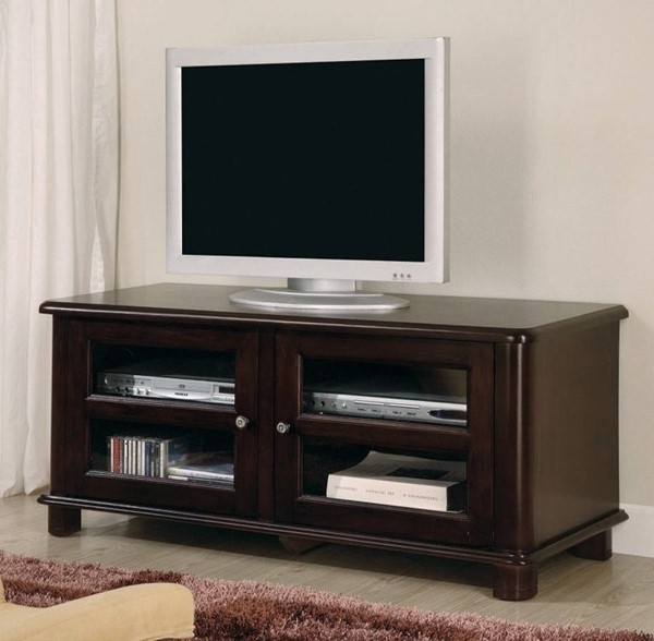 Homeroots Brown Solid Wood TV Console with Doors and Shelves OCN-309095