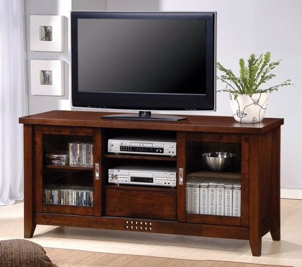 Homeroots Transitional Brown Solid Wood TV Console with Doors and Shelves OCN-309096