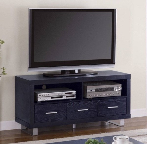 Homeroots Black Wood Magnificent TV Console with Shelves and Drawers OCN-309097
