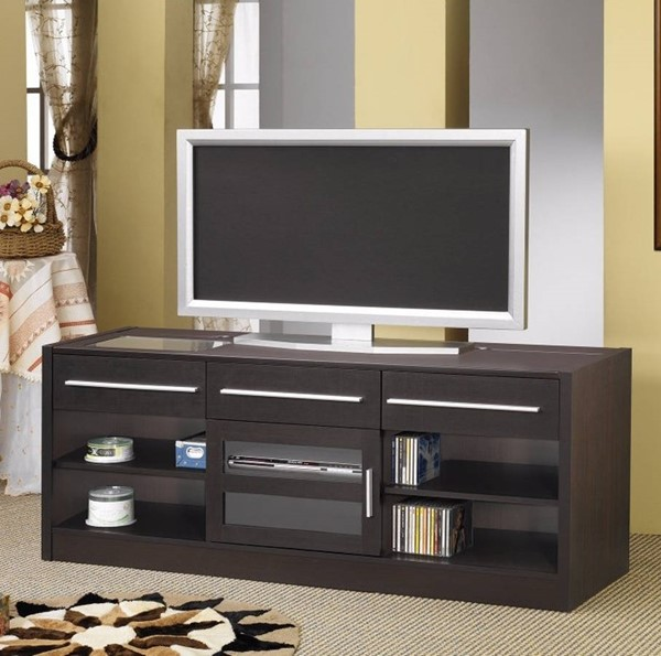 Homeroots Brown Wood TV Console with Connect It Power Drawer OCN-309100