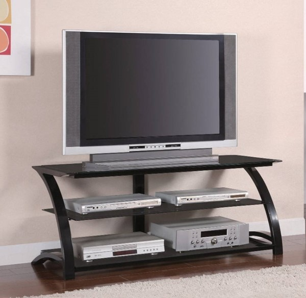 Homeroots Black Glass Metal Legs TV Console OCN-309103