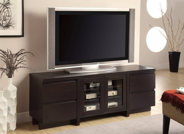 Homeroots Brown Wood 2 Glass Doors TV Console with 4 Drawers OCN-309106