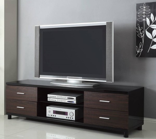 Homeroots Black Brown Wood Enticing TV Console with 2 Shelves OCN-309115