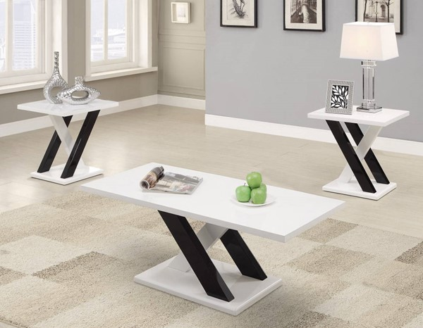 Homeroots White Black Wood Fascinating 3pc Occasional Set OCN-309124
