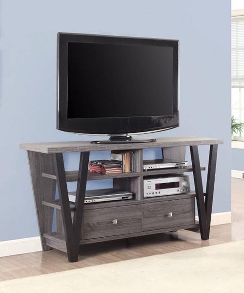 Homeroots Gray Black Wood Two Tone Trapezoid TV Console OCN-309125
