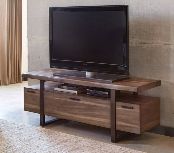 Homeroots Brown Wood Metal Radiant Low Profile TV Console OCN-309132